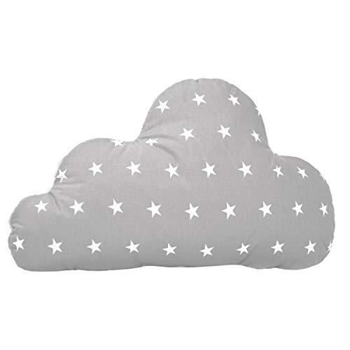 Amilian Kissen Wolke Wolken Zierkissen Kinderzimmer Zimmer Deko Plüschkissen Baby Kinder Dekokissen mit Füllung für Schlafzimmer Babyzimmer Kinderbett Mädchen Jungen Sternchen Grau