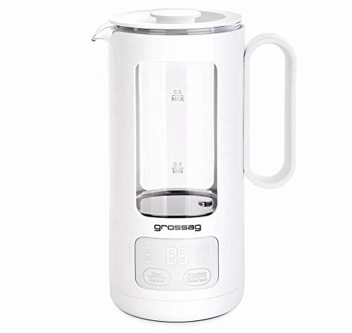 grossag Glas-Wasserkocher WK 8.00 mit Glas-Topf 0,5 Liter, variable Temperatureinstellung über Drucktasten und automatisch Abschaltung, Single und Reise Teekocher BPA frei für Tee und Babynahrung.