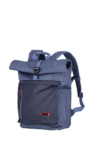 travelite 60 cm Rollup Rucksack mit Laptop Fach bis 15,6 Zoll, Gepäck Serie PROOF: Weichgepäck Rucksack in frischen Kontrastfarben, 092310-20, 35 Liter, 0,8 kg, marine (blau)