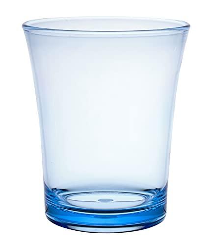 KLIFA- JAZZ series, Acrylic Tumbler Drinking Glasses, Set of 6, BPA-Free, Stackable Drinkware, Dishwasher Safe, 16.2 oz, Ocean Blue