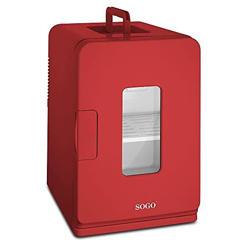 SOGO SS-475 Mini Nevera Portátil Eléctrica Casa/Viaje, Frío o Calor, Alimentador Enchufe y Encendedor Coche, Capacidad 15L, A++, color rojo