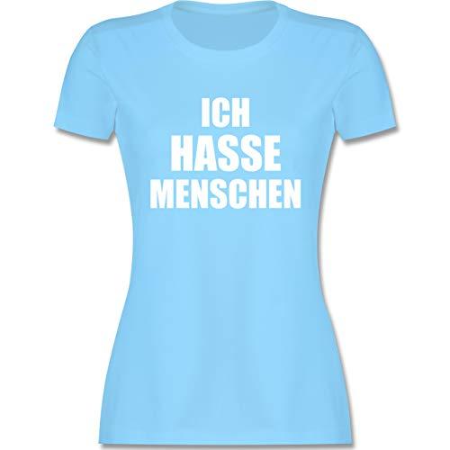 Sprüche - Ich Hasse Menschen - XXL - Hellblau - Shirts/top Damen XXL - L191 - Tailliertes Tshirt für Damen und Frauen T-Shirt