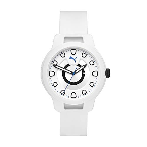 PUMA Men Reset V1 Silicone Watch, Color: White/White (Model: P5009)