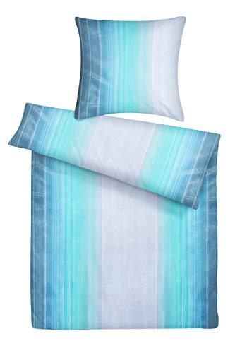 Carpe Sonno Blaue Mako-Satin Bettwäsche 135 x 200 cm - Bettbezüge mit...