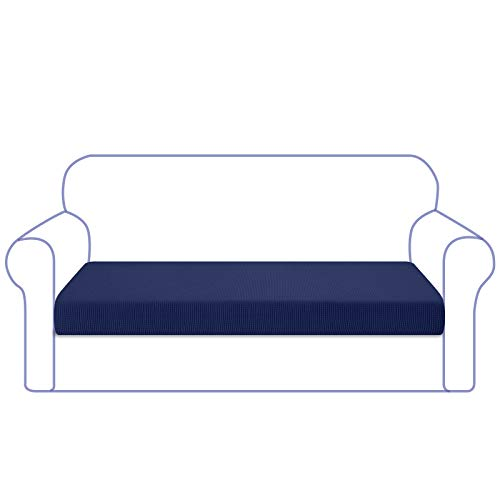 Granbest High Stretch Sofa Sitzkissenbezug Superweicher Sofa Sitzbezug Sitzkissenschutz Jacquard Spandex Stoff mit Elastischer Unterseite(3 Sitzer,Dunkelblau)