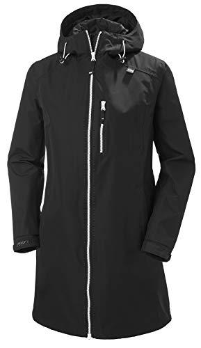 Helly Hansen Women s Long Belfast Waterproof Windproof Breathable Raincoat Jacket with Hood, 990 Black, Large