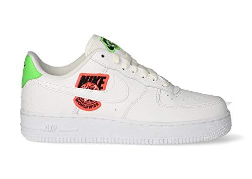 Nike Wmns Air Force 1 '07 SE, Zapatillas de básquetbol Mujer, White White Flash Crimson Green Strike Black, 38.5 EU