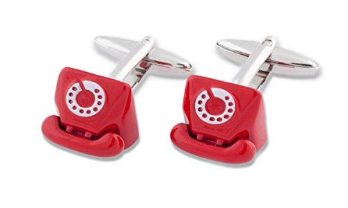 Sologemelos - Boutons De Manchette Teléphone Rouge - Rouge - Hommes - Taille Unique