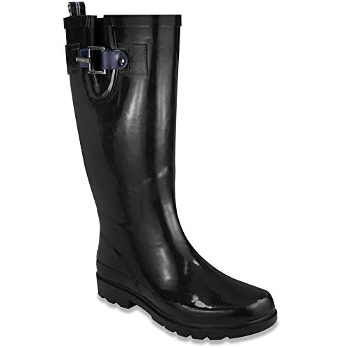 Nautica Women Finsburt 2 Knee High Waterproof Tall Rubber Snow/Rain Boot-Black-6