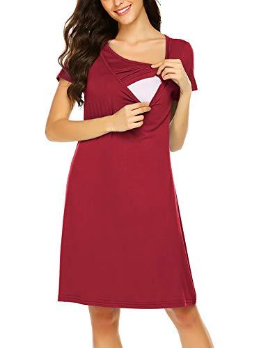 Unibelle Damen Stillkleid Festlich Lagendesign Umstandskleid Mutterschafts Kleid Umstandsmode Schwangerschafts Kleid Kurzarmes Nachthemd