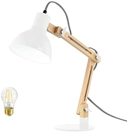 Light Society Galvan LED Task Table Lamp Natural Wood with White Shade Industrial Pixar Style product image
