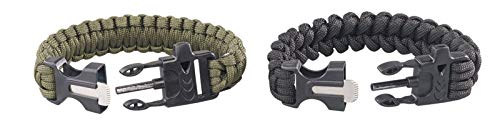 Semptec Urban Survival Technology Outdoor Armband: 2er-Set Survival-Armbänder mit Seil, Pfeife, Feuerstahl und Messer (Paracord Armband)