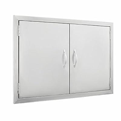 Popsport BBQ Door 30.5W x 21H Inch Outdoor Kitchen Access Door 304 Stainless Steel Double Door with Handle for BBQ (30.5X21Inch)