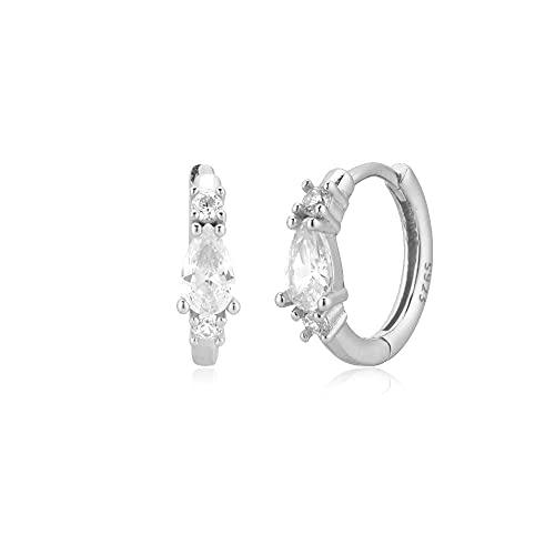925 Plata Dorado Azul 9mm Huggies Piercing Clips Hoop Mujeres Moda Joyería de cristal de lujo Rock Punk-Silver White