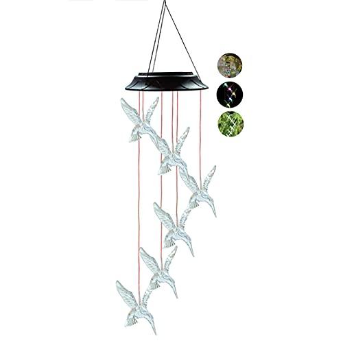 TTWLJJ Campanilla de Viento Solar,Campanas de Viento LED Cambio de Color Carillón de Viento Impermeable for Bajo Techo, en Exteriores decoración hogar, Patio, jardín