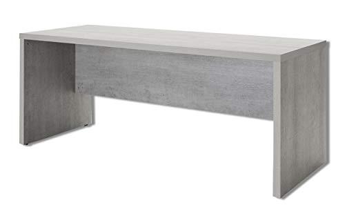Muebletmoi - Escritorio de 180 cm, color gris con decoración de hormigón – Diseño urbano – Colección Granit