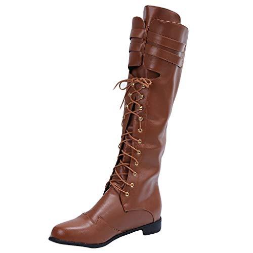 Heren Sneeuw Laarzen Klassieke Retro Laarzen, Winter Westernse Onder de knie Ridder Stijl Klassieke Laarzen Vintage Leer Lace-Up Rijlaarzen