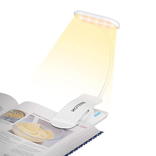 HOTERB Lampe de Lecture pour Livre,Liseuse Lampe avec Bouton Tactile Lumiere Lecture 9 LED 3 Modes d'éclairage Lampe de Bureau,360° Cou Flexible Lampe Pince pour Lit,Tête de Lit,Nuit,Blanc