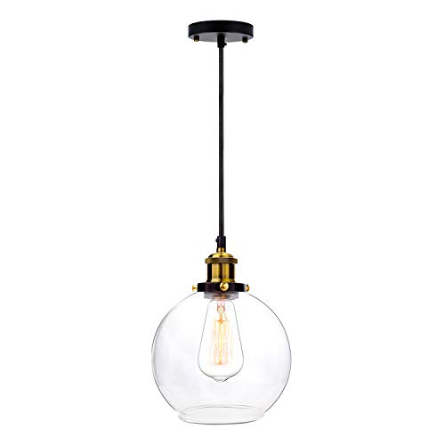 Frideko Vintage Ball Glass Ceiling Pendant Light -7.9 inches Modern Globe Glass Lampshade Hanging Fixture Lighting with Adjustable Cord Length for Kitchen Island Dining Room(20cm)
