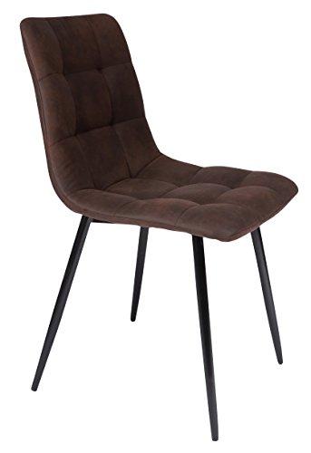 SAM Esszimmerstuhl ULF, Stoffbezug braun, Schwarze Metallfüße, Schalenstuhl im skandinavischen Stil, quadratische Absteppungen, pflegeleichter Stuhl