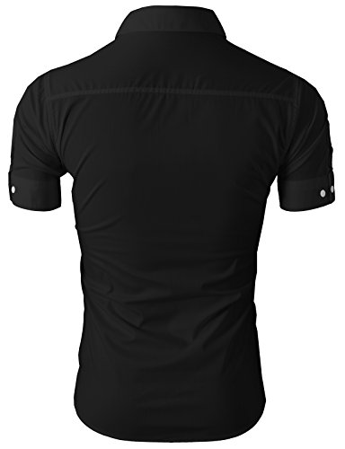 H2H Mens Fashionable Casual/Dress Basic Designed Button Closure Slim Fit Shirts BLACK US XL/Asia XXL (JASK36)