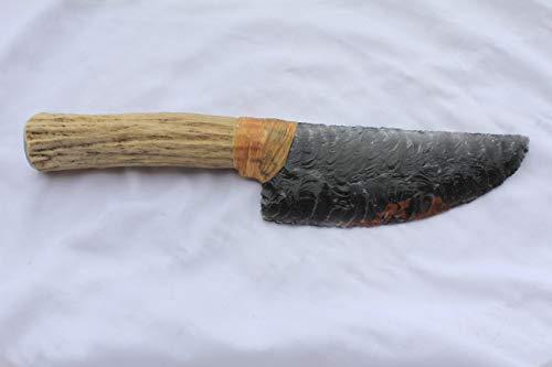 """8-5/8"""" Triple Flow Obsidian Flint Knapped/Knapping Pressure Flaked Domed Knife Blade Dagger Point Hafted On Deer Antler Handle"""