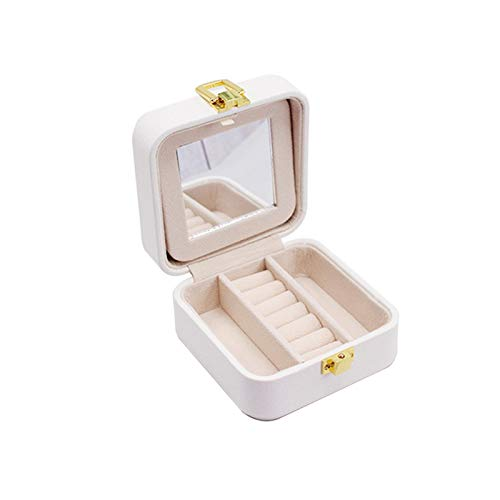 Yunly Mini Jewellery Box with Mirror, Travel Jewellery Box PU LeatherJewellery Display Box for Rings Earrings Necklaces for Girls Women (White)