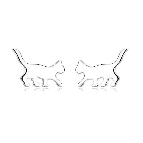 YAFEINI 925 Silber Ohrringe Stecker Damen,Prämie Ohrstecker Silber Schmuck Geschenke Katze Ohrringe für Damen Mädchen Mutter Tochter