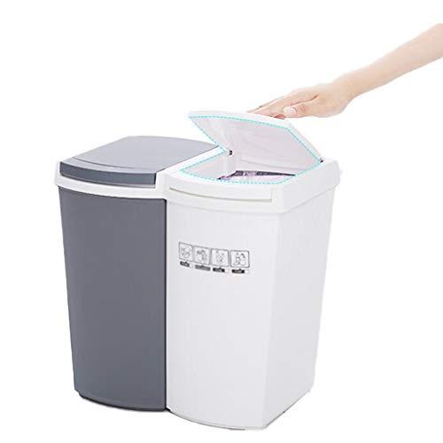 YULAN prullenbak kan droog nat afval Bin prullenbak kan vuilnisbakken scheiden 14L Druk Type Met Deksel Papier Mand Smalle Keuken Woonkamer Badkamer 35 * 25 * 34cm