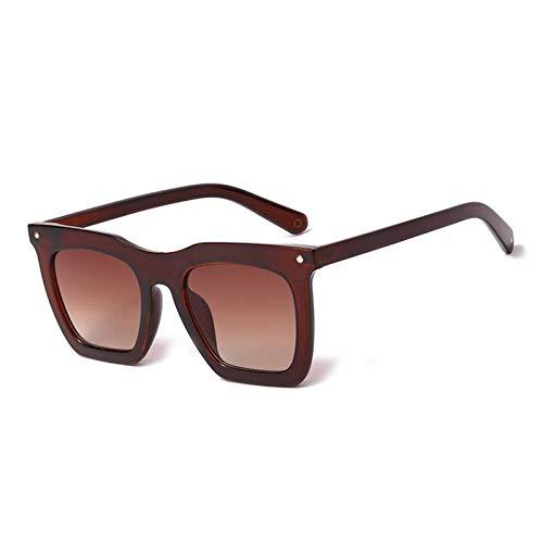ZZOW Gafas De Sol Cuadradas Y Planas De Gran Tamaño A La Moda para Mujer, Gafas con Gradiente De Espejo Vintage, Diseñador De Marca, Gafas De Sol para Hombre, Sombras
