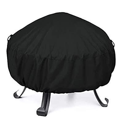"""Unicook Fire Pit Cover 44"""" Dia x 18"""" H, Heavy Duty Waterproof Round Fire Bowl Cover, Outdoor Side Table Cover with Drawstring and Handles, Fade Resistant Material, All Weather Protection, Black"""