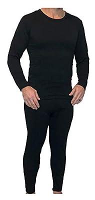 Z-TEX Ultra Soft Men's Fleece Lined Thermal Underwear Long Johns Set (Black, Medium)
