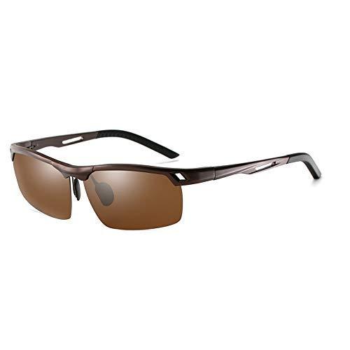 Yeeseu Gafas de sol de Al-Mg aleación de conducción gafas de sol polarizadas for hombre Deportes Medio capítulo Pesca Montar vidrios de la manera clásica de la vendimia de los vidrios (color: plata, t