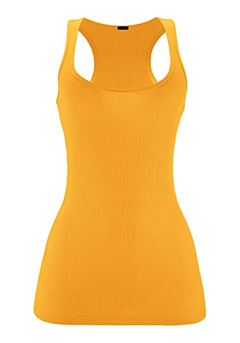 ClothingAve. Womens Ribbed Jersey Knit Racerback Tank Top Moisture-Wicking Fabric Basic Staple Top Mustard Small