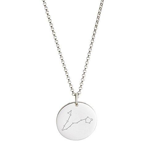 Gravado Halskette aus 925er Sterling Silber mit Kreisanhänger und Sternbild Gravur, Damen Schmuck, inkl. Geschenkbox, Länge 50 cm