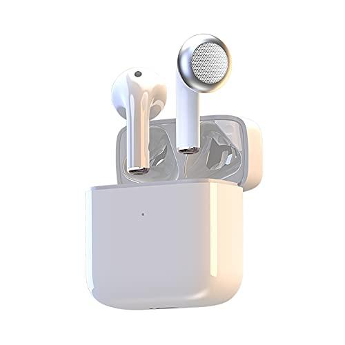 ZIOZIO Auricular Bluetooth pequeño y portátil inalámbrico montado en la oreja Auriculares deportivos adecuados para juegos de oficina casuales compatibles con teléfonos Apple y Androi blanco