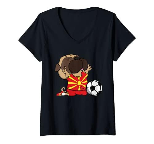 Mujer Pug Macedonia Ftbol Fans Jersey Macedonia Amantes del Ftbol Camiseta Cuello V