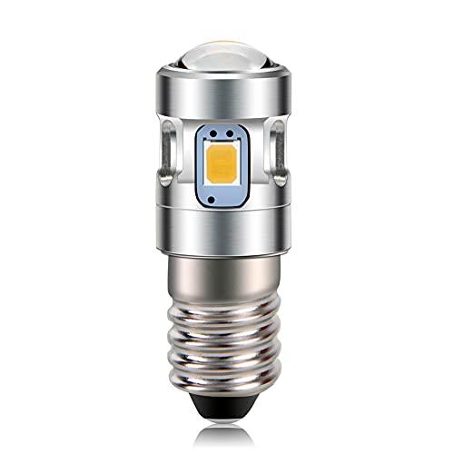 Ruiandsion E10 - Bombillas LED para linterna de 3 V, 3000 K, blanco cálido, 2835 4SMD con proyector para 2 celdas, C&D, para bicicleta, mini faros delanteros de la antorcha de trabajo