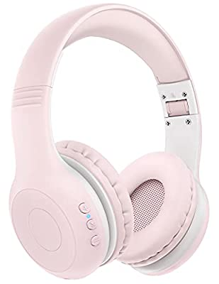 Wireless Kids Headphones with Microphone, Over Ear Headsets for Kids Children Teens, 2 in 1 Wired/Wireless Mode HD Stereo Sound with 94dB Volume Limit for PC, Phone, iPad, Study, Travel(Pink) from Wronwimi
