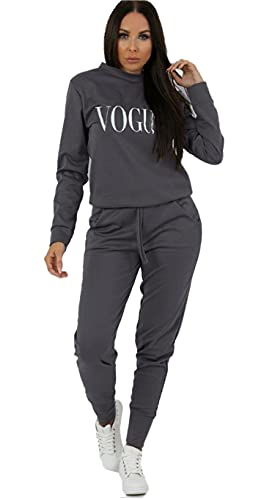 Womens Vogue Print 2 Piece Loungewear Boxy Tracksuit Ladies Top and Jogger Set Size SM XXL Charcoal numeric16