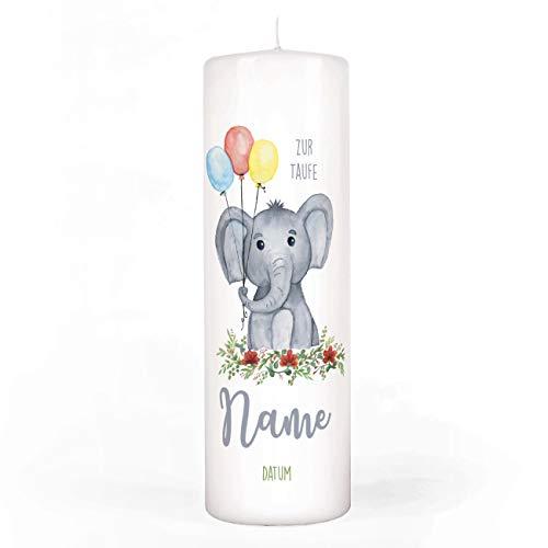 Striefchen® Taufkerze mit Elefant und Luftballons Bedruckt mit Namen u. Taufdatum sowie eigenen Taufspruch 8x25 cm