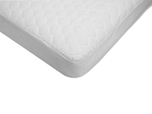 American Baby Company Extra Durable Waterproof Quilted Cotton Crib and Toddler Mattress Pad Cover, White, 28 X 52 X 9, for Boys and Girls