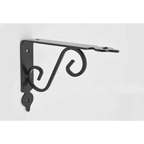 Schwarz Dekorative Wandregalträger, 2er-Pack Heavy Duty-Ecke Regal Supporter for Bookshelves, Schlafzimmer/Küche/Büro Regale (Size : 19cm)