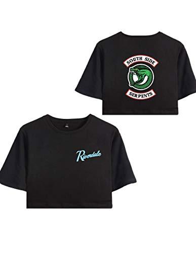 Riverdale Southside Serpents T-Shirts Damen, Teenager Mädchen Sommer Sport Crop Tops Mode Bauchfrei Oberteile Kurze Tank Top Blusen Shirt Hemd Frauen Kurzarm T-Shirts Tops Pullover (Schwarz B, XS)