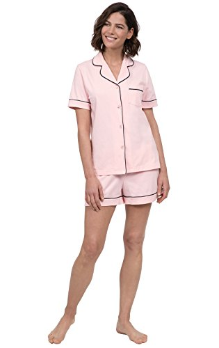 PajamaGram Pajamas for Women Cotton - Ladies Pajamas Short Set, Pink, M, 10-12