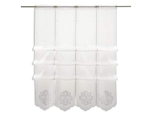 Cliprollo weiß Ornament Bestickt   Höhe 145cm (ungerafft)   Breite der Gardine frei wählbar in 16cm Schritten   Gardine   Panneaux  