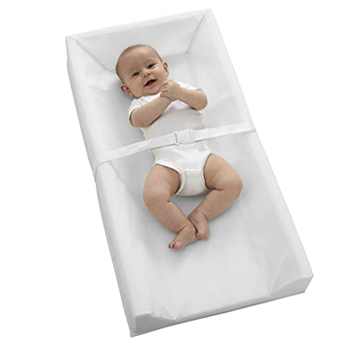 """Sealy Baby Soybean Comfort 3-Sided Contoured Diaper Changing Pad for Dresser or Changing Table, White, 32"""" x 16"""""""