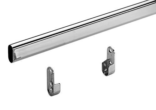 Hettich 9219989 Schrankrohr-Set 15/30 x 1200 mm (Kleiderstange) verchromt