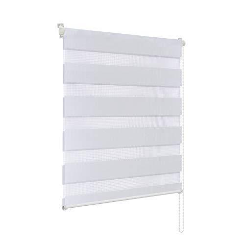 Rapid Teck® Duo Rollo Doppelrollo Weiß 110cm x 150cm ohne Bohren Klemmfix Seitenzugrollo Kettenzugrollo Vario Jalousie