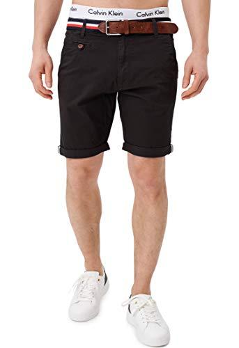Indicode Herren Creel Chino Shorts mit 5 Taschen inkl. Gürtel aus 98% Baumwolle | Kurze Hose Regular Fit Bermuda Stretch Herrenshorts Short Men Pants Sommerhose kurz für Männer Black XL